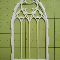 fourwidegothicwindow.jpg Download STL file Quadruple width Gothic window with trefoils and quatrefoil • 3D printing template, Adridne