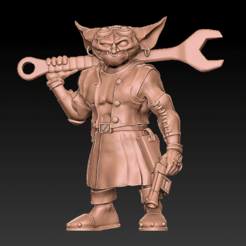 Bodger_Front.png Download STL file Bodger, Goblin Mechanic • 3D printable object, DavidHusserArt