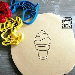 ice cream cone_etsy.jpg Download STL file Ice Cream Cone Cookie Cutter • 3D printer template, Cookiecutterstock