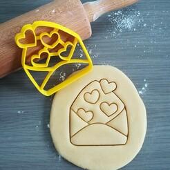 Envelope with hearts_cookie cutter.jpg Télécharger fichier STL Enveloppe avec des coeurs Découpeuse de biscuits • Modèle imprimable en 3D, Cookiecutterstock