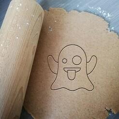ghost emoji_koekjesvorm.jpg Télécharger fichier STL Coupe-biscuits fantôme Emoji • Design pour imprimante 3D, Cookiecutterstock