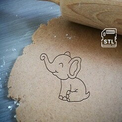 baby elephant_mockup.jpg Download STL file Baby Elephant Cookie Cutter • 3D printable design, Cookiecutterstock