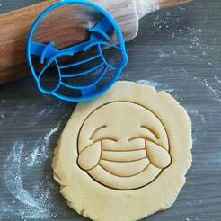 Lachen met tranen_mockup.jpg Télécharger fichier STL Rire avec les larmes, Emoji coupeur de biscuits • Plan à imprimer en 3D, Cookiecutterstock