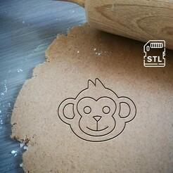 monkey face_mockup.jpg Télécharger fichier STL Coupe-biscuits en forme de tête de singe • Objet pour imprimante 3D, Cookiecutterstock