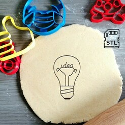 Lightbulb idea_etsy.jpg Download STL file Lightbulb Idea Cookie Cutter • 3D print design, Cookiecutterstock