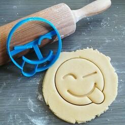 Knipoog met uitgestoken tong_mockup.jpg Télécharger fichier STL Clin d'œil à la langue, coupeur de biscuits Emoji • Objet pour impression 3D, Cookiecutterstock