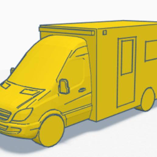 uk ambulance.PNG Download STL file UK Mercedes ambulance • 3D printable design, justinhanson87