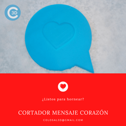Cortador mensaje Corazon.png Download STL file VALENTINE'S DAY CUTTER - MESSAGE FROM THE HEART • Model to 3D print, colosal3d