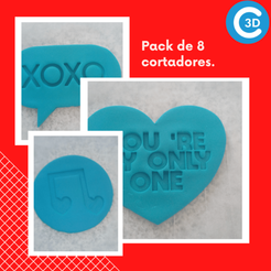 20210124_215630_0000.png Download STL file PACK OF 8 CUTTERS - VALENTINE'S DAY • 3D print design, colosal3d