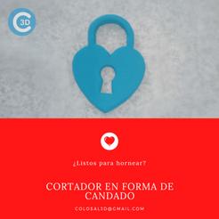Cortador candado corazon.png Download STL file VALENTINE'S DAY CUTTER - HEART LOCK • 3D printing design, colosal3d