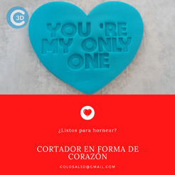 Cortador Only one.png Download STL file VALENTINE'S DAY CUTTER - ONLY ONE • 3D printer design, colosal3d