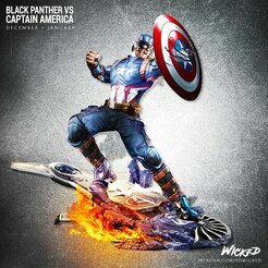 120820 Wicked - BP VS CA squared 02 (1).jpg Download STL file Captain America • 3D printer design, Wicked3D