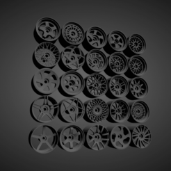 JNC collezione.png Download STL file JNC RIMS COLLECTION WITH BRAKES AND TIRES FOR HOT WHEELS • 3D print template, rob3rto