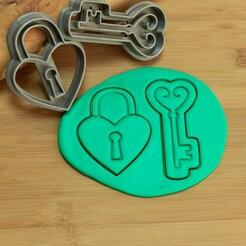 DSC_6291.jpg Download STL file valentine's day cookie cutters, lock heart and key  • 3D printable model, Jordi34x