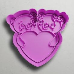push-diseño.png Download STL file Bears in love • 3D print template, escuderolu