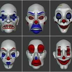 All Front.jpg Télécharger fichier STL Les masques bancaires du Joker : Le chevalier noir • Design pour imprimante 3D, MortuiSui