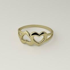 couple-of-hearts-rings-1.jpg Télécharger fichier STL Bague pour femmes avec une paire de coeurs Modèle 3D • Objet pour impression 3D, Oleg_K