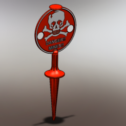Free 3d printer model Land Mine Marker, DjeKlein