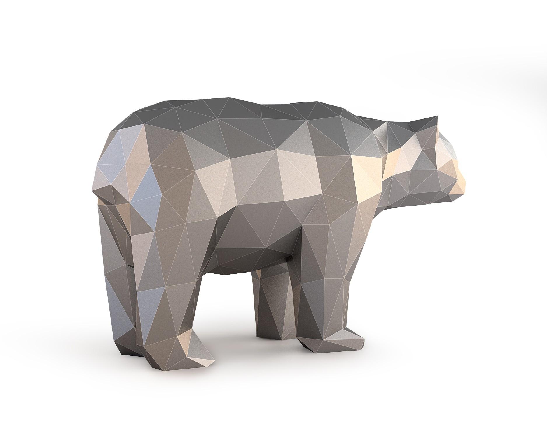 Low Poly Bear_View050020.jpg Download OBJ file Low Poly Bear • 3D printable design, FORMBYTE