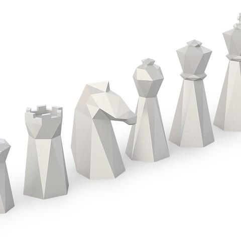 Download OBJ file Low Poly Chess Set • Model to 3D print, FORMBYTE