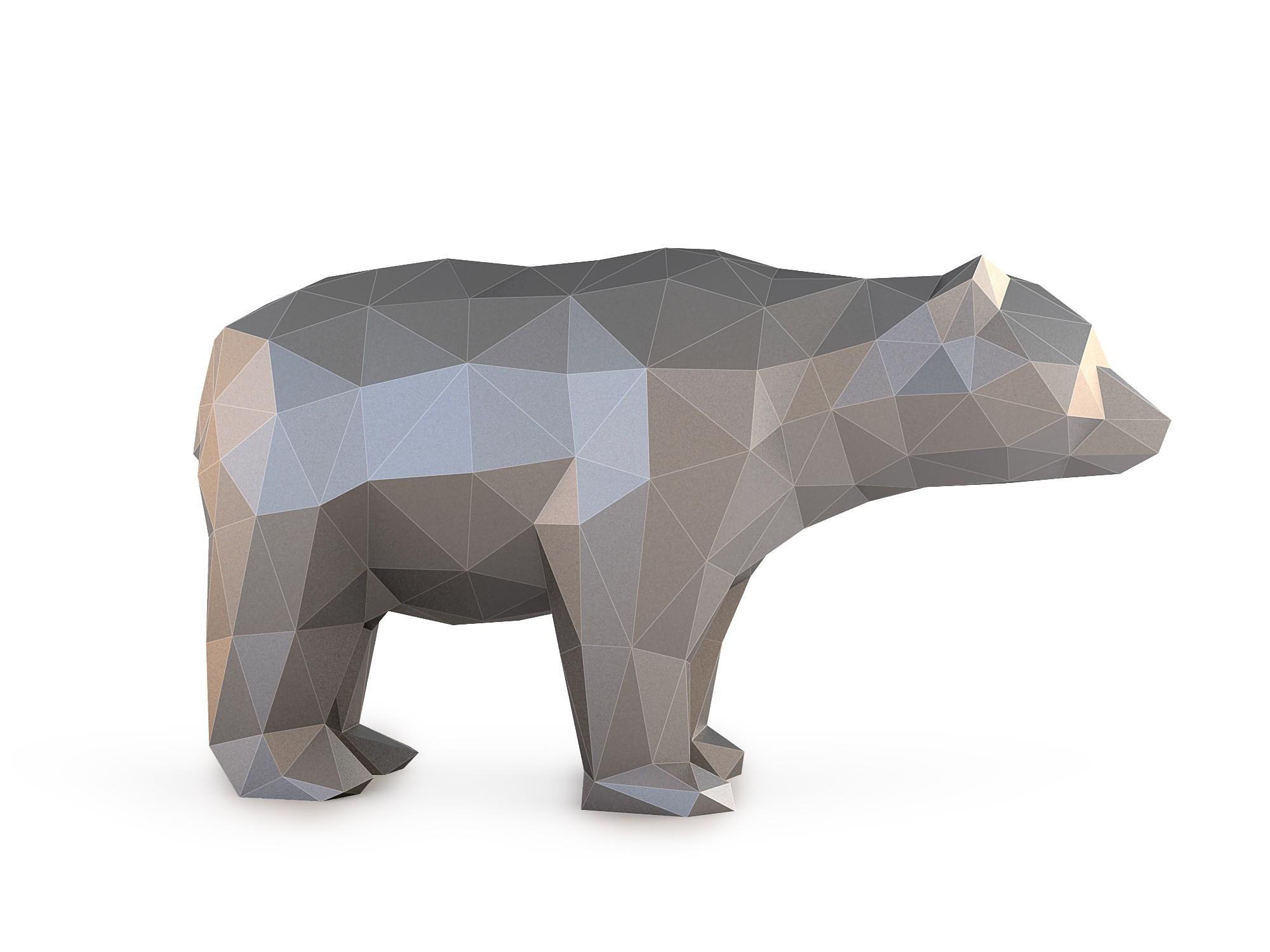 Low Poly Bear_View040015.jpg Download OBJ file Low Poly Bear • 3D printable design, FORMBYTE