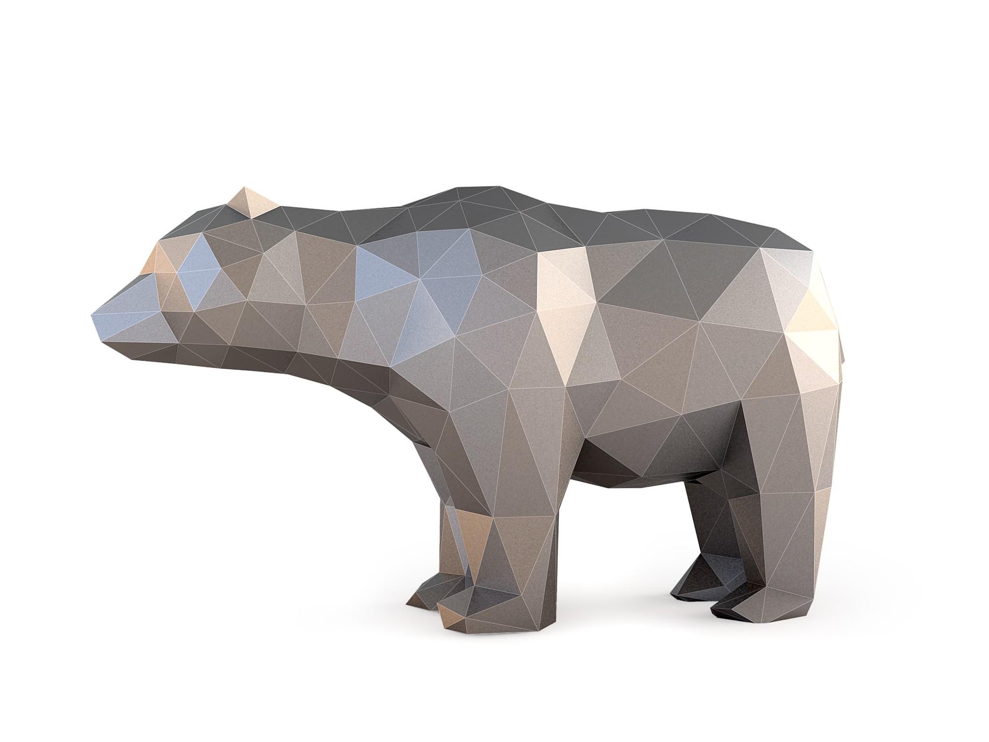 Low Poly Bear_View020005.jpg Download OBJ file Low Poly Bear • 3D printable design, FORMBYTE