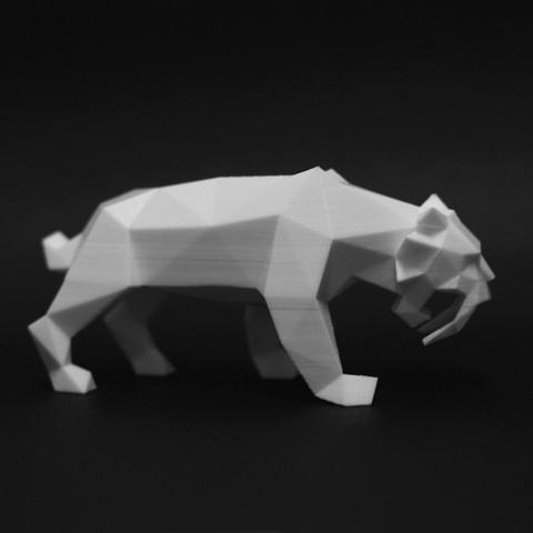DSC_3870_2.jpg Download STL file Low Poly Saber Toothed Tiger • 3D printer model, FORMBYTE