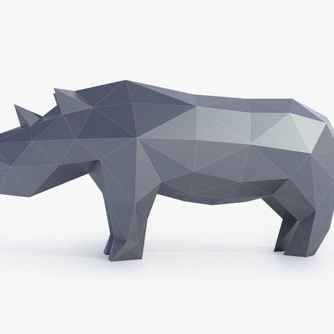 STL Low Poly Rhinoceros, FORMBYTE