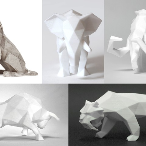 Fichier STL Collection d'animaux Low Poly, FORMBYTE