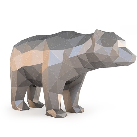 Low Poly Bear_View030010.jpg Download OBJ file Low Poly Bear • 3D printable design, FORMBYTE