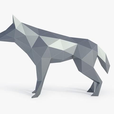 3D print files Low Poly Wolf, FORMBYTE