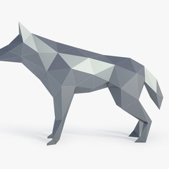 3d print files Low Poly Wolf, FORMBYTE