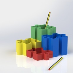 render_01.JPG Download free STL file Puzzle pencil cup • 3D printing object, BEEVERYCREATIVE