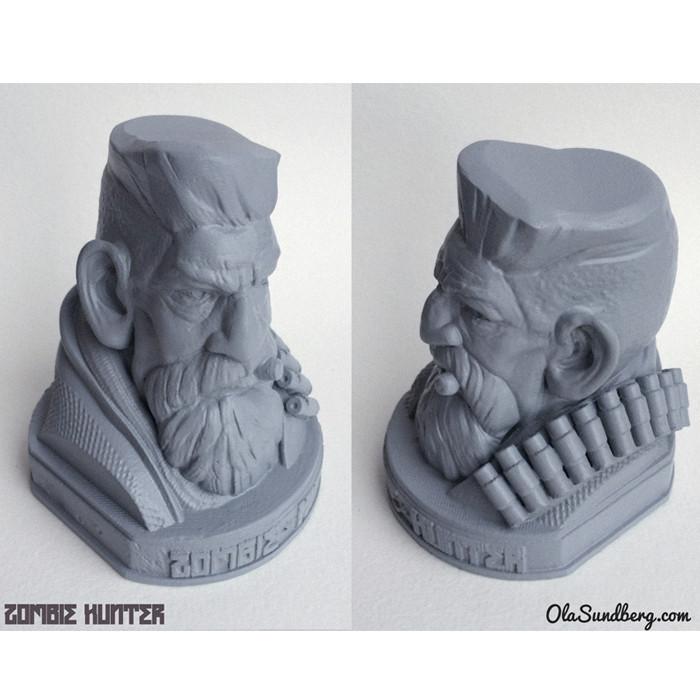 t2.jpg Télécharger fichier STL gratuit Zombie Hunter Head • Objet imprimable en 3D, Sculptor