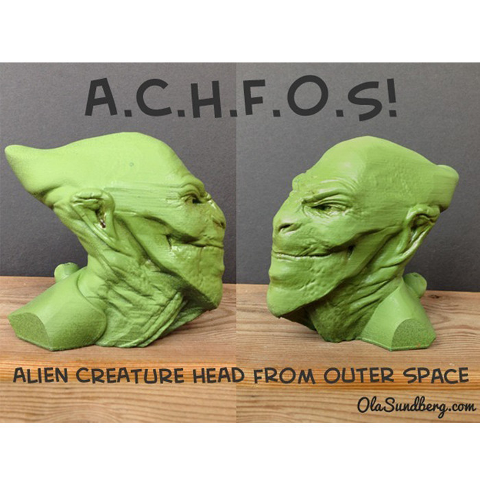 DFGHJ.jpg Download free STL file ACHFOS - Alien Creature Head From Outer Space • Template to 3D print, Sculptor