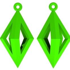 Boucles d'oreilles - Vert.jpg Télécharger fichier STL Boucles d'oreilles forme triangle • Design imprimable en 3D, fredy