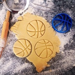 basket_1.jpg Download STL file Basketball Shaped Cookie Cutter • Object to 3D print, OogiMe