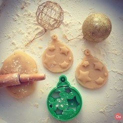 Free 3d print files Christmas Ball ornament Cookie Cutter  , OogiMe