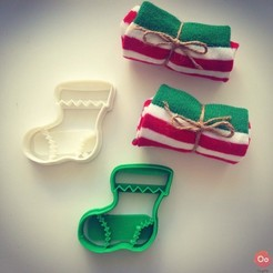 Free 3D printer designs Christmas Sock Cookie Cutter, OogiMe