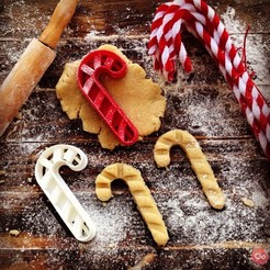 Free 3d printer designs Candy Cane Cookie Cutter, OogiMe