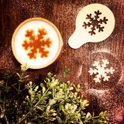 Download free 3D printing designs Snowflake - Coffee Decoration Template, OogiMe