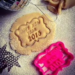 Free 3D print files Happy New Year Cookie Cutter, OogiMe
