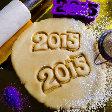 3D printer files New Year 2015 Cookie Cutter, OogiMe