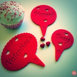 Free 3D print files Happy Valentine's Day Cupcake Topper, OogiMe