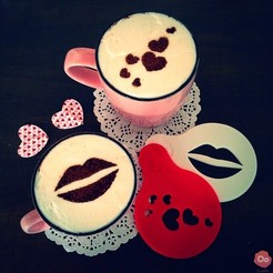 Download free 3D printer model Hearts & Kiss Coffee Decoration Templates, OogiMe