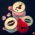 Free 3D print files Hearts & Kiss Coffee Decoration Templates, OogiMe