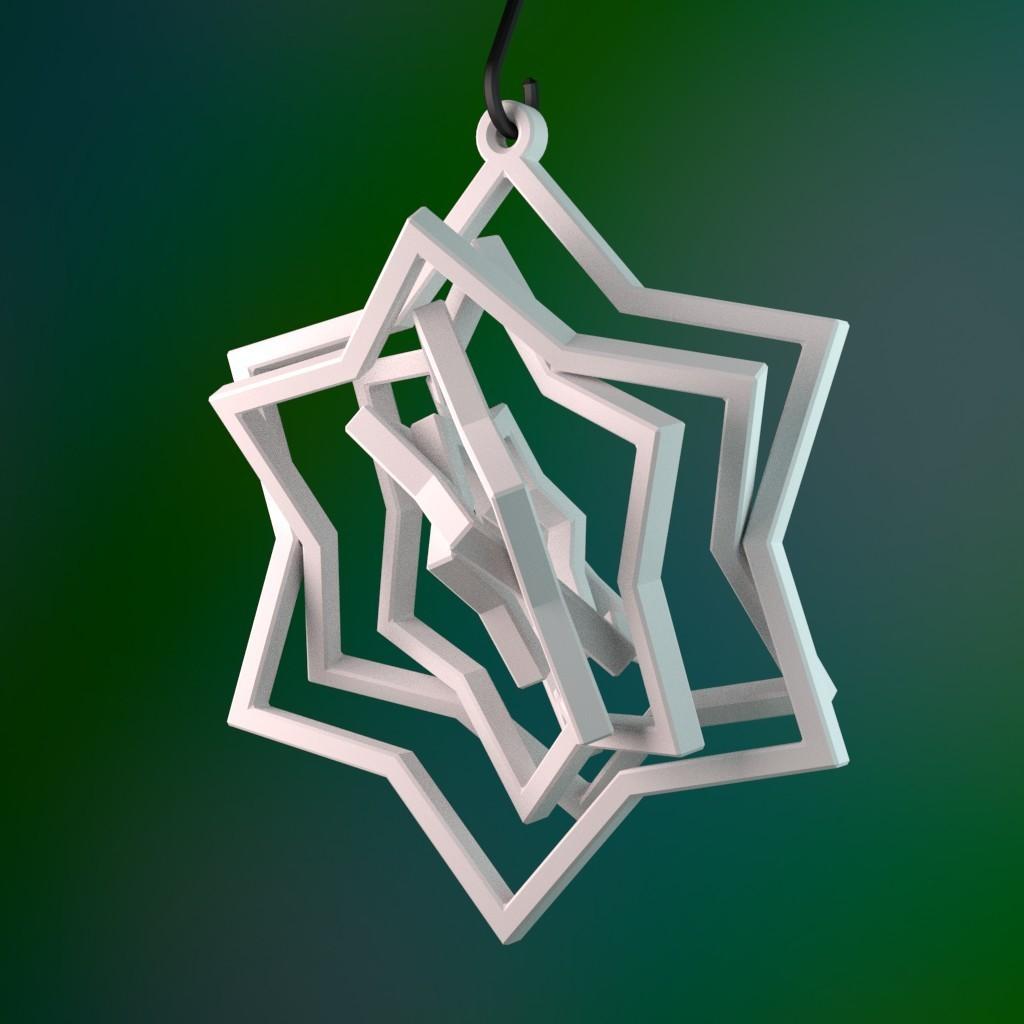 star_ornament.jpg Télécharger fichier STL gratuit Ornement à six étoiles pivotantes • Plan pour impression 3D, MarcoAlici