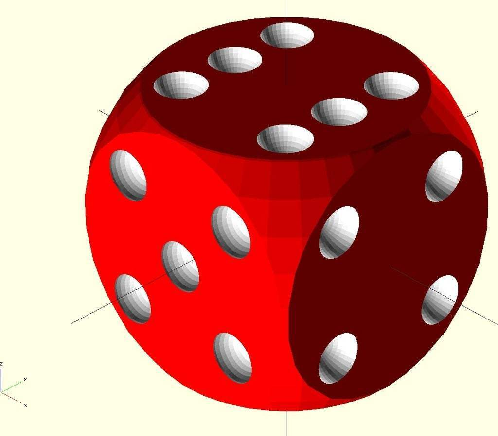 dice_openscad.jpg Download free SCAD file Parametric Dice • 3D printing object, MarcoAlici