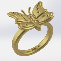 Download 3D printer designs butterfly ring T51, valentinf