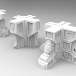 Impresiones 3D gratis Esquinas de edificios de ciencia ficción de 28 mm, jdteixeira